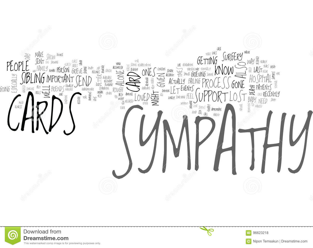 when to send sympathy cards word cloud stock illustration