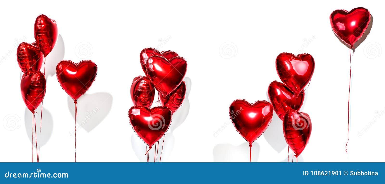 To walentynki dni powietrze szybko się zwiększać set Wiązka czerwony serce kształtujący folia balony odizolowywający na bielu