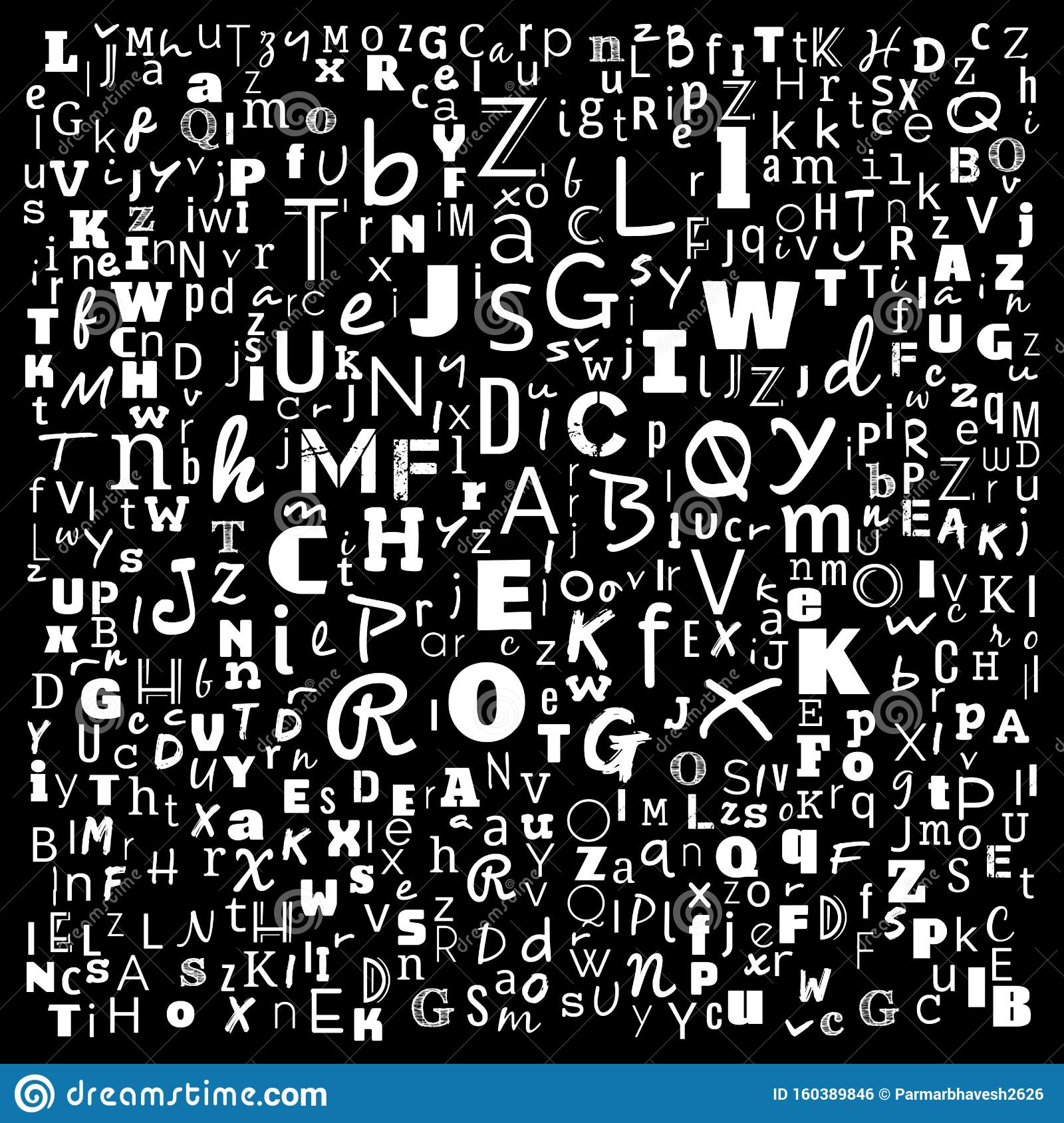 A To Z Alphabets Word Cloud Stock Illustration