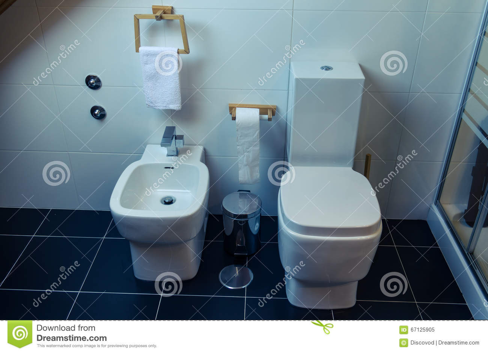 Toalett och bidé i ett modernt badrum arkivfoto   bild: 67125905