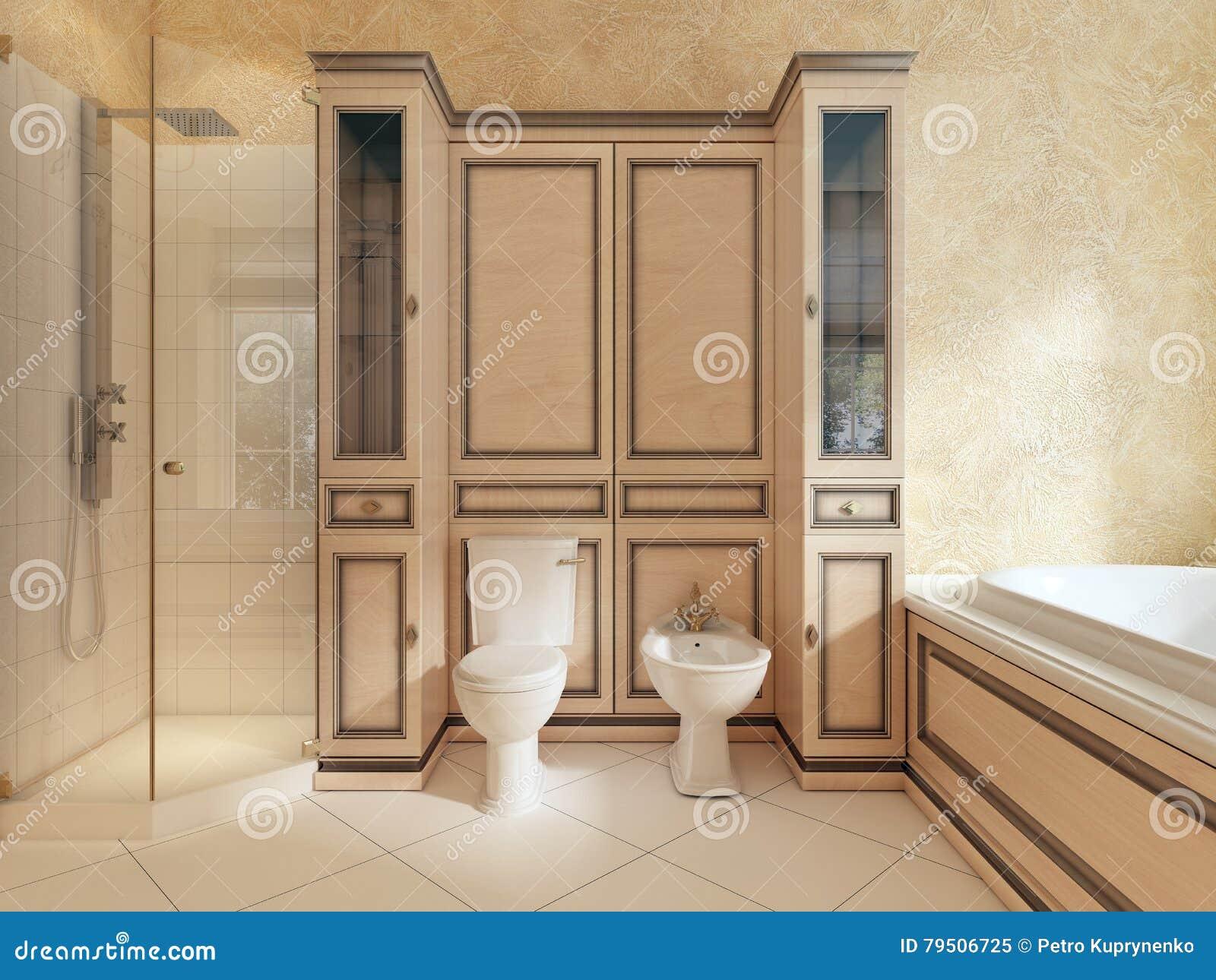 Toalett och bidé i klassiskt badrum stock illustrationer   bild ...