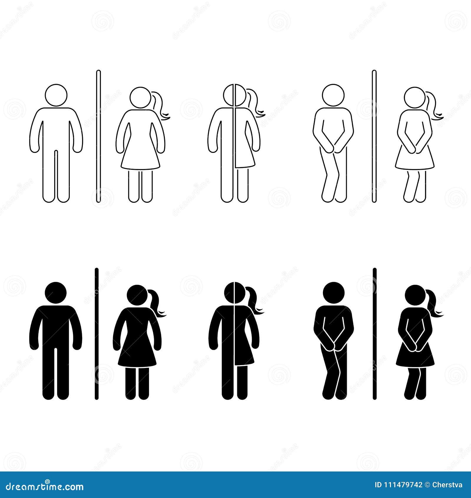 Toalettman och kvinnligsymbol