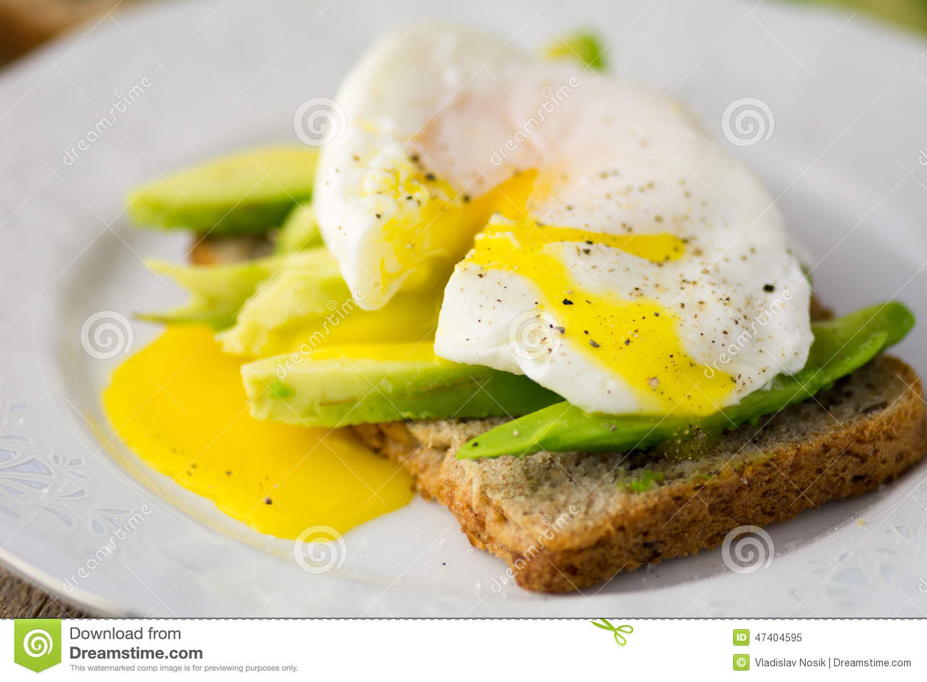Toast With Avocado And Poached Egg Stock Photo - Image: 47404595
