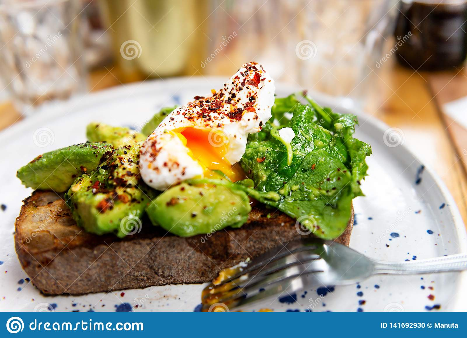 Toast With Avocado And Poached Egg, Perfect And Healthy