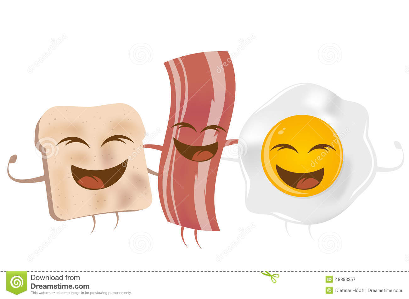 Toast bacon and fried egg stock vector. Illustration of ...