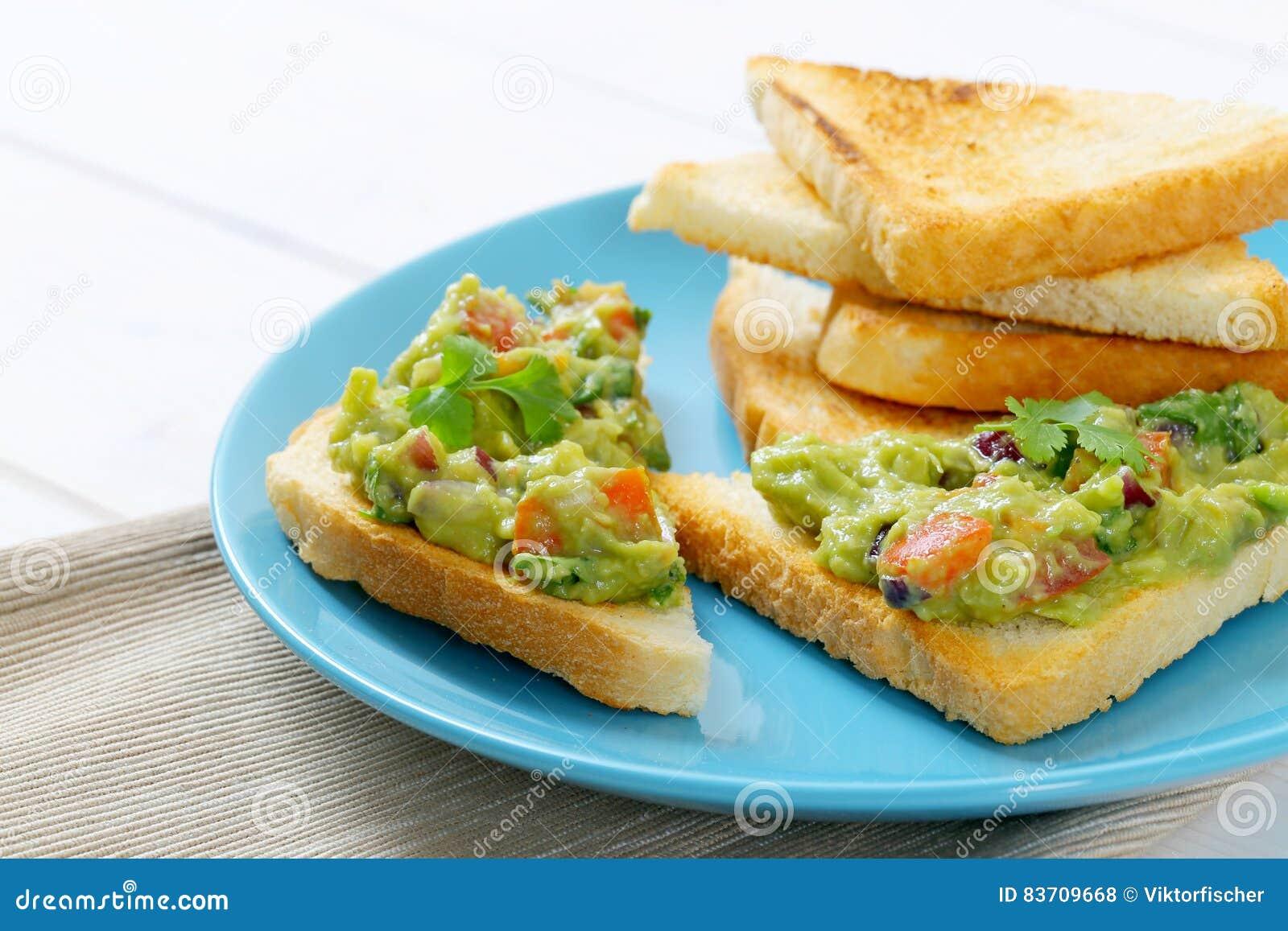 Toast Bread With Guacamole Stock Photo