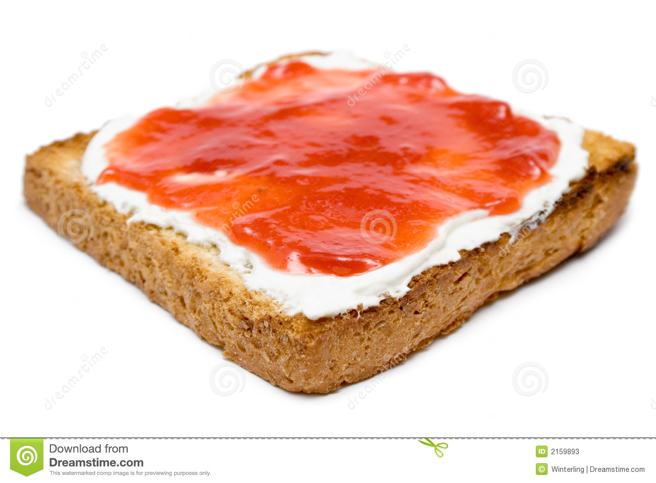 Butter and jam on a warm slice of bread. Isolated on a white ...