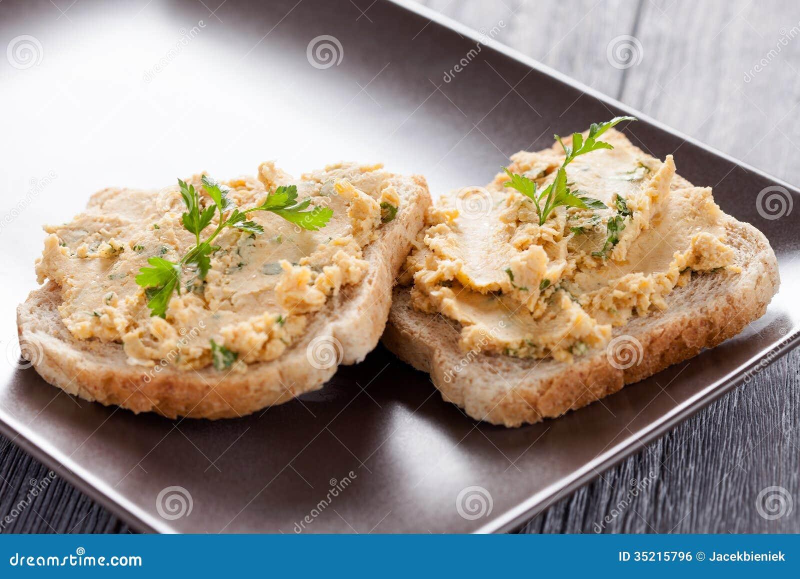 Toast With Hummus Stock Photo Image Of Fresh Vegetarian