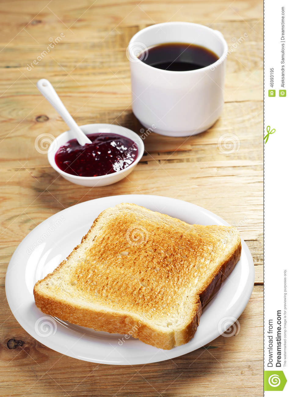 Toast With Jam And Coffee Cup Stock Photo Image 46993195