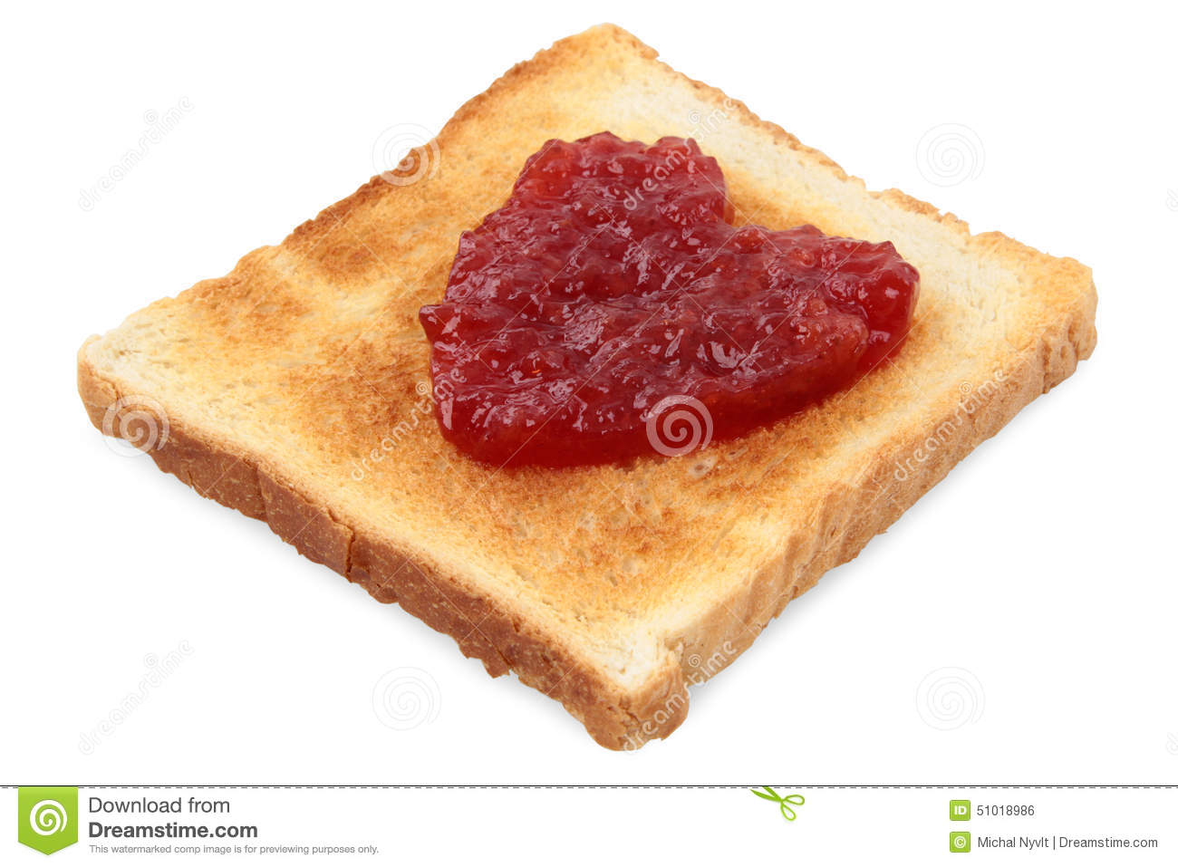 Good Morning Love Symbol : Toast with jam stock photo image