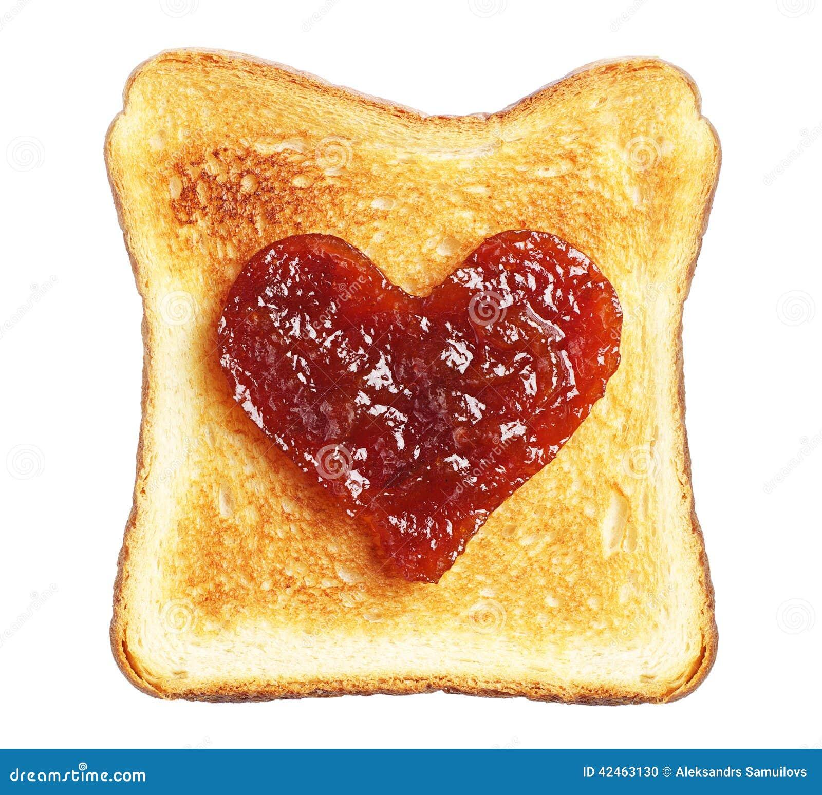 Toast mit Stau in Form von Herzen