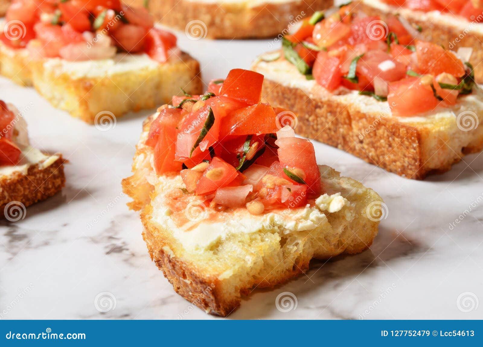 Toast with salsa sauce