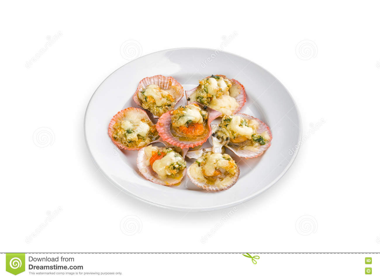 Toast scallops with cheese