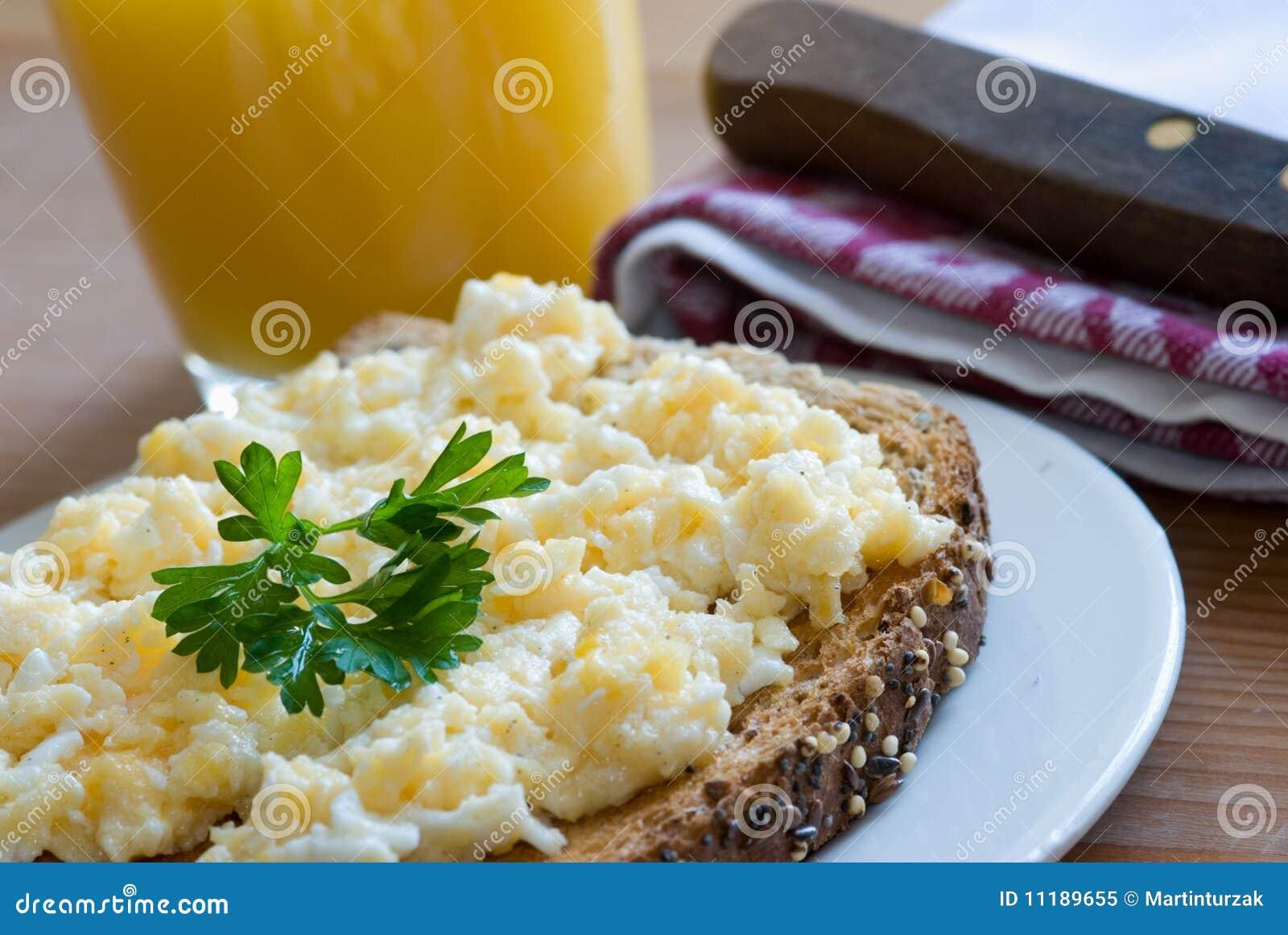 Toast With Scrambled Egg Royalty Free Stock Photo - Image: 11189655