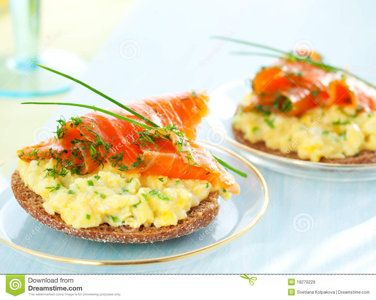 Toast With Scrambled Eggs,salmon And Chives Royalty Free Stock Images ...
