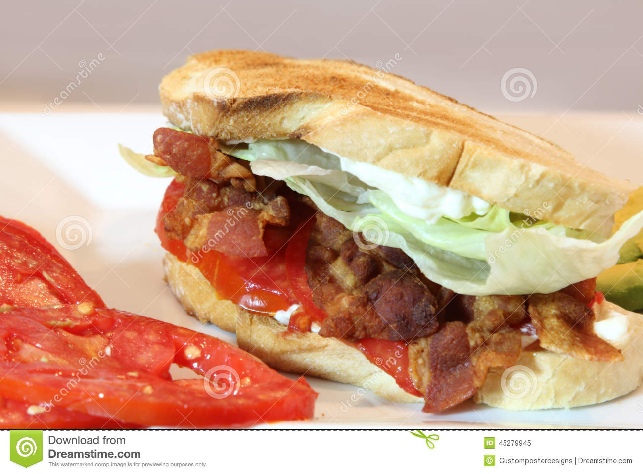 Download A Toasted Bacon, Lettuce And Tomato Sandwich. Stock Image - Image of dinner, american: 45279945