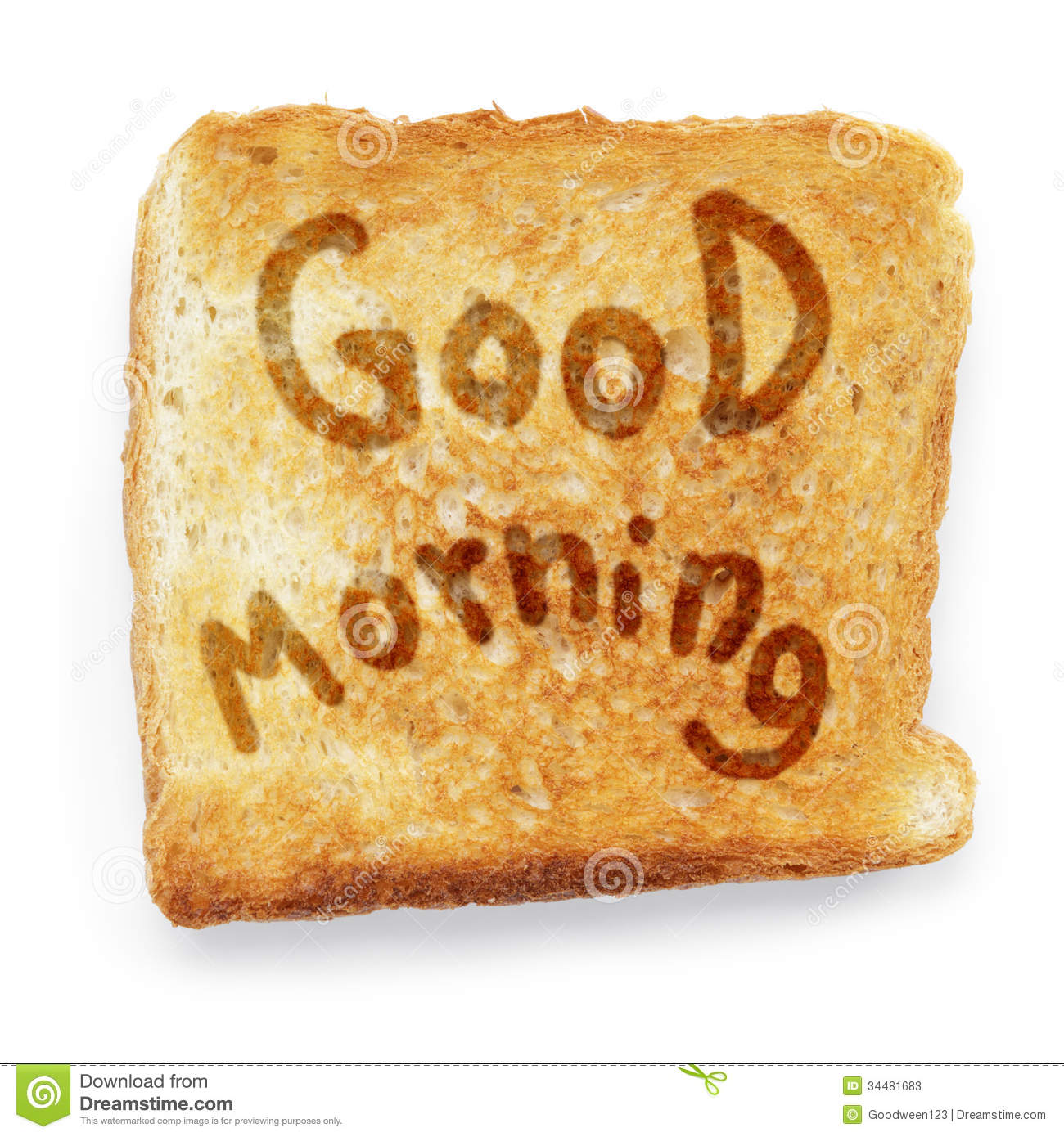 Toasted Bread Wishes Good Morning Stock Image