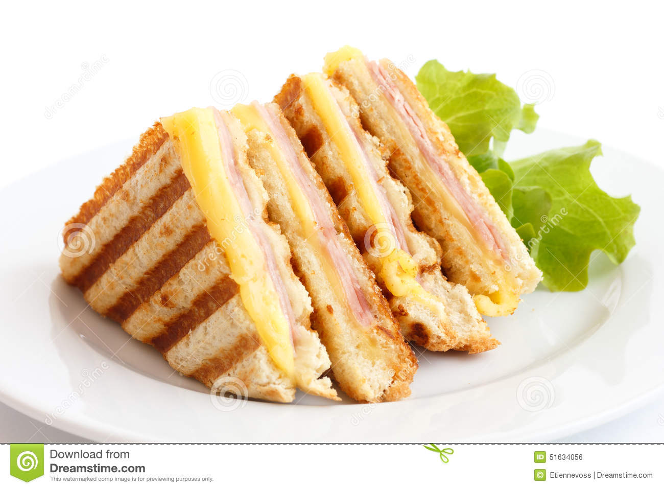 Toasted Ham And Cheese Panini. Stock Photo - Image: 51634056