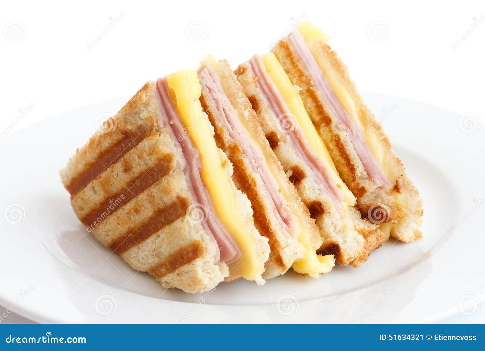 Toasted ham and cheese panini.