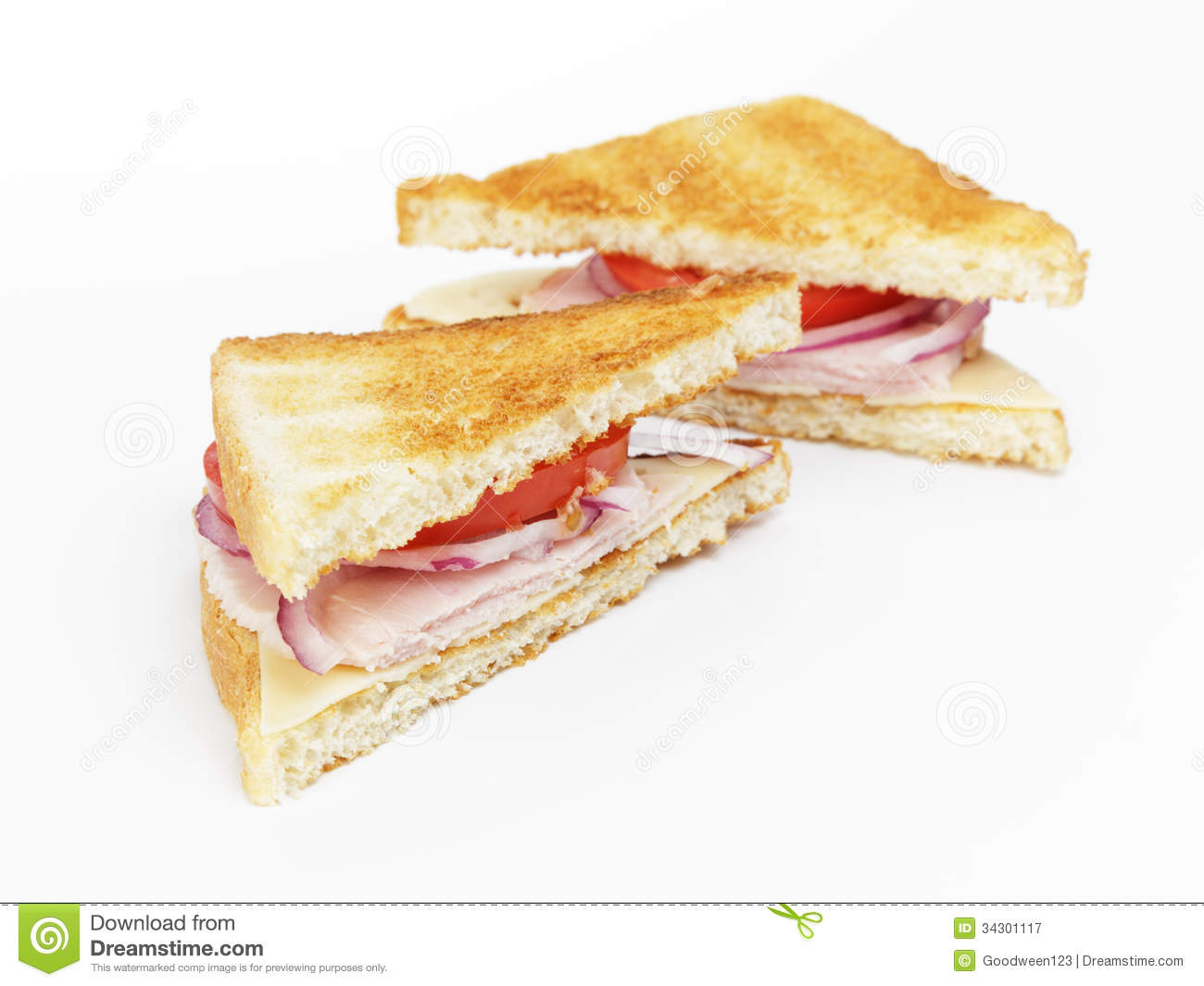 Toasted Sandwich With Ham, Cheese And Vegetables Royalty Free Stock ...