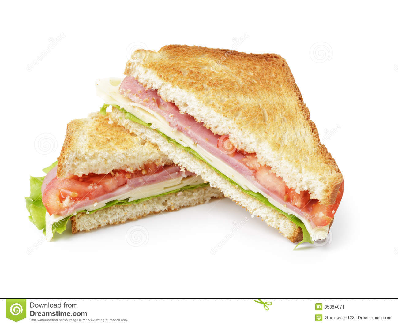 Toasted Sandwich With Ham, Cheese And Vegetables Stock Image - Image ...