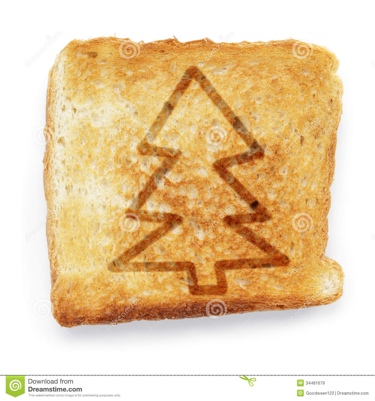 Toasted Slice Of White Bread With Christmas Tree Royalty Free Stock ...