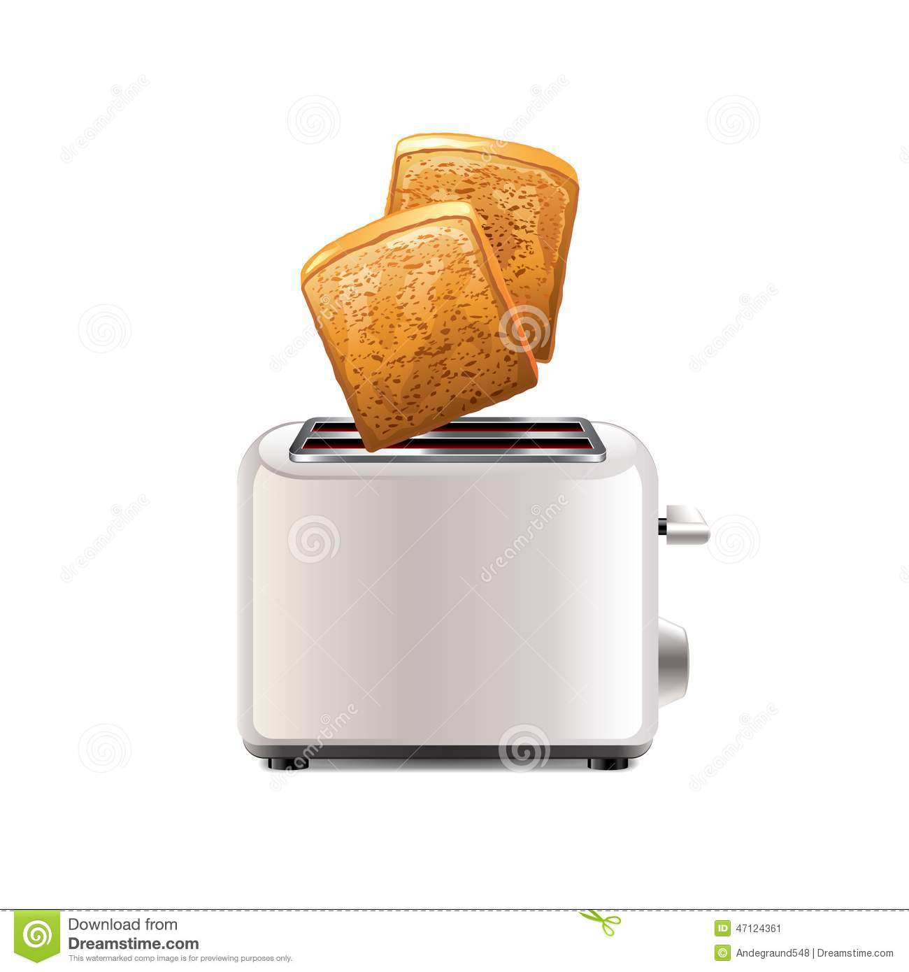 Toaster with toast isolated on white vector
