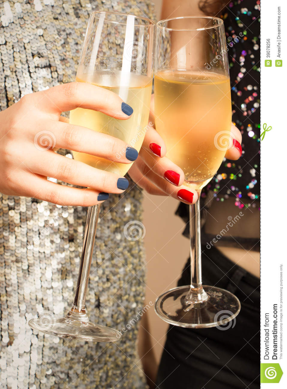 Toasting with champagne