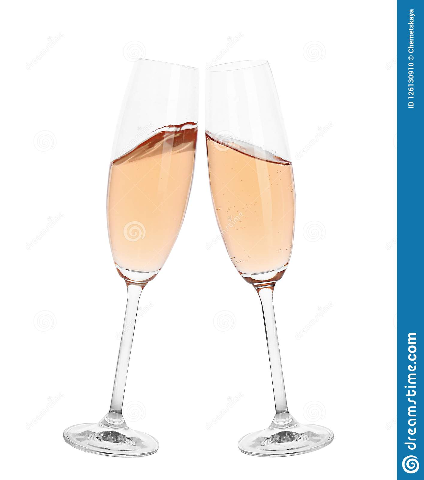 Toasting with glasses of rose champagne