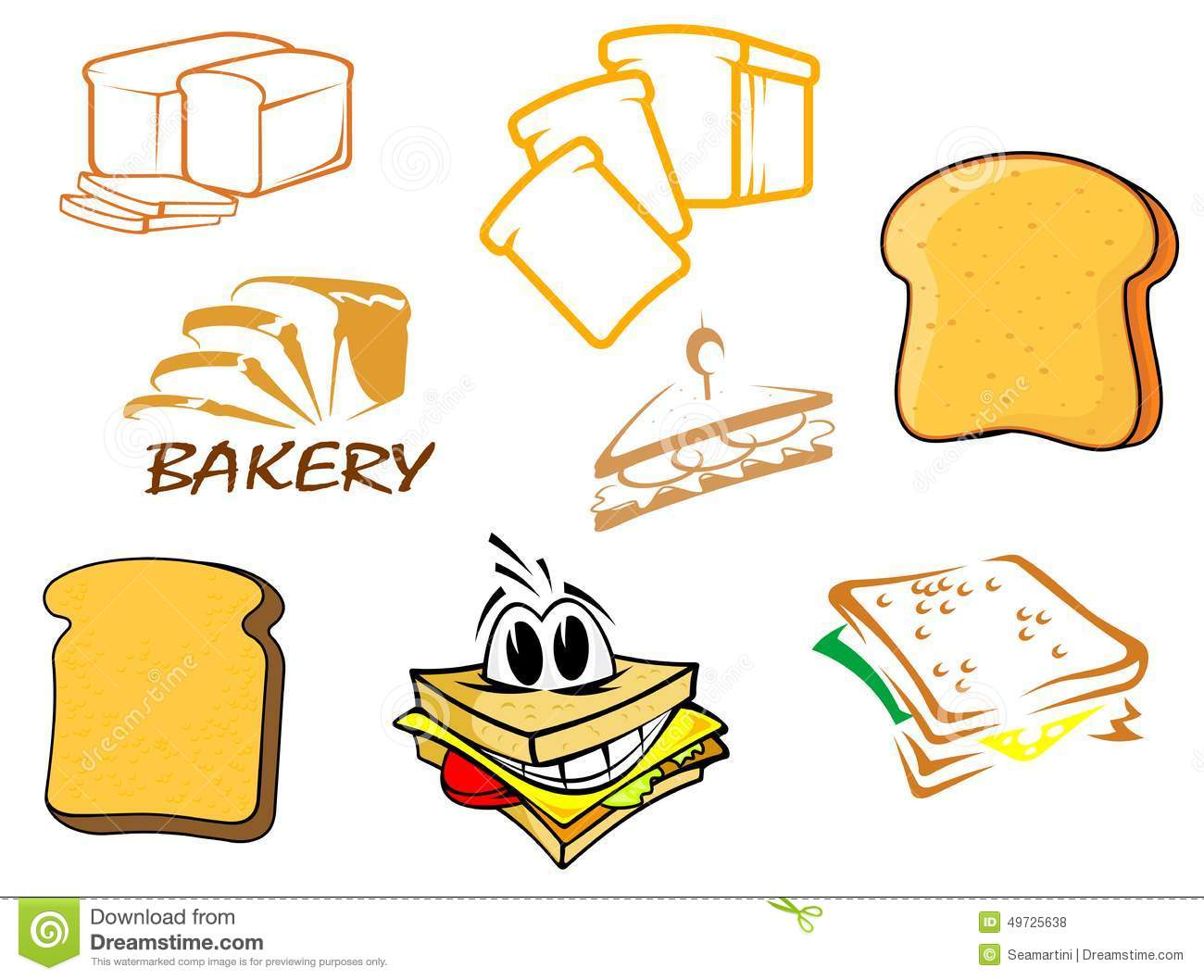 Toasts and bread icons stock vector. Illustration of healthy - 49725638