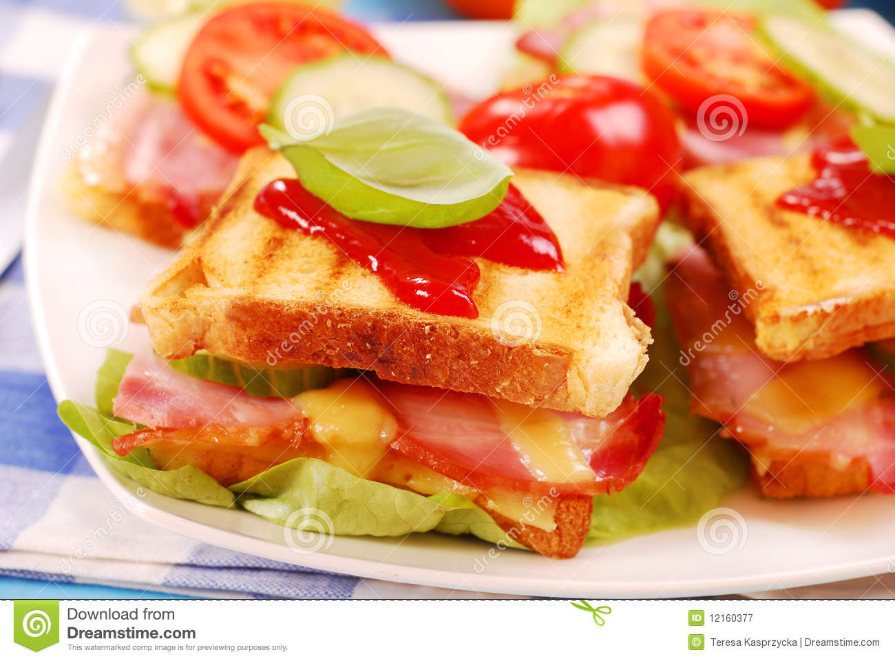 Toasts With Cheese,bacon And Tomato Royalty Free Stock Photography ...