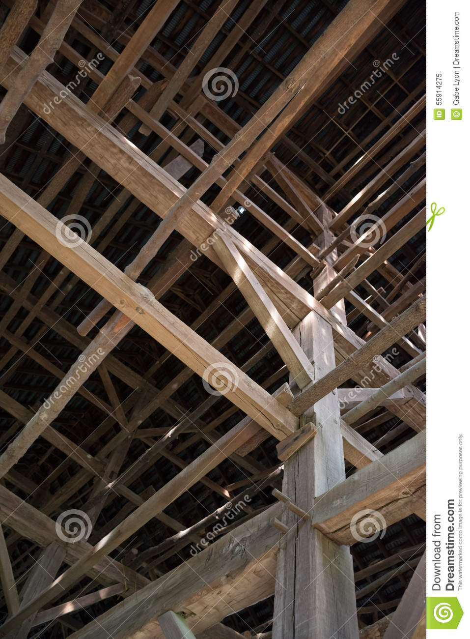 Tobacco barn interior stock image image of hewn farm for Tobacco barn house plans