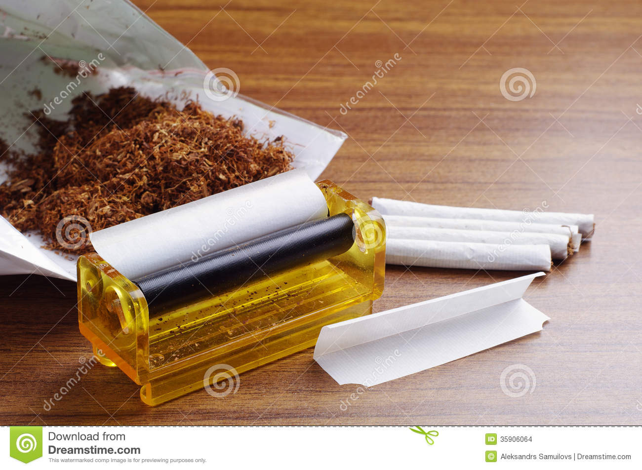 Tobacco And Rolling Machine Stock Images Image 35906064
