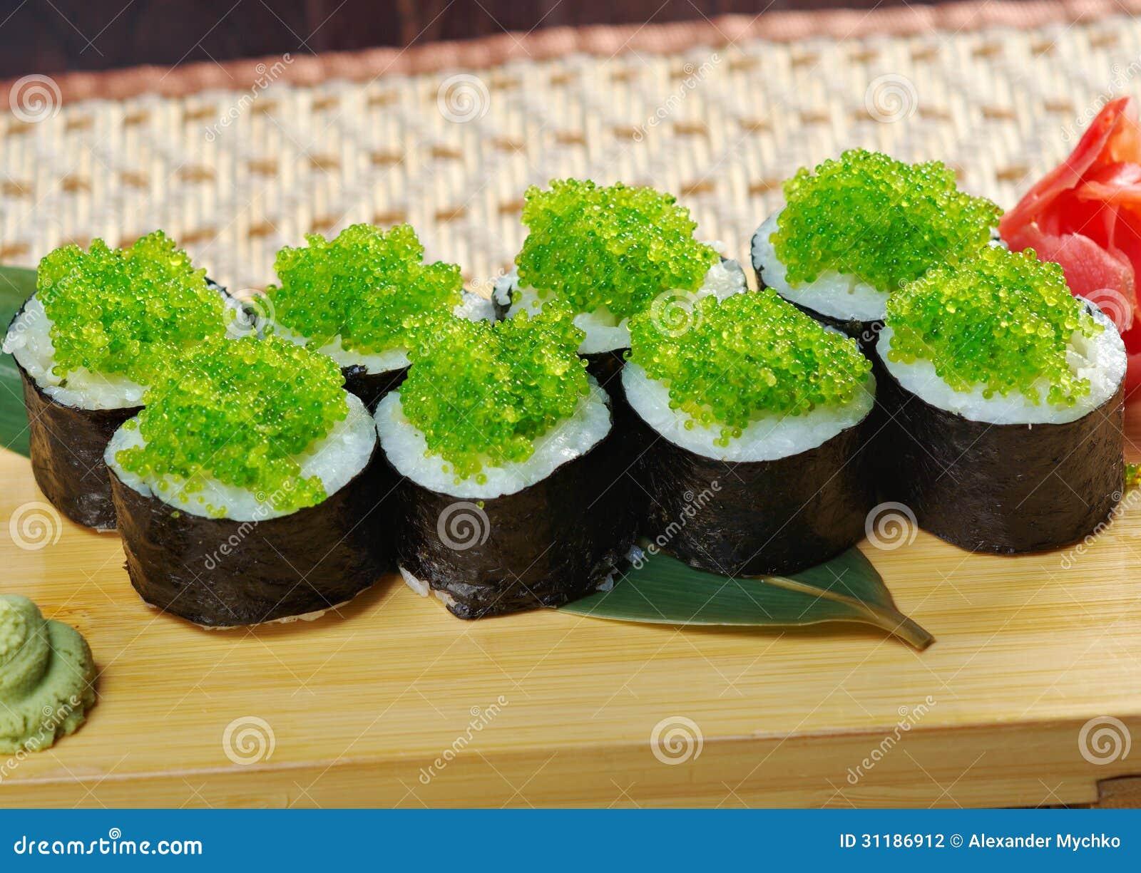 Tobiko flying fish roe gunkan maki sushi stock photo for Flying fish roe