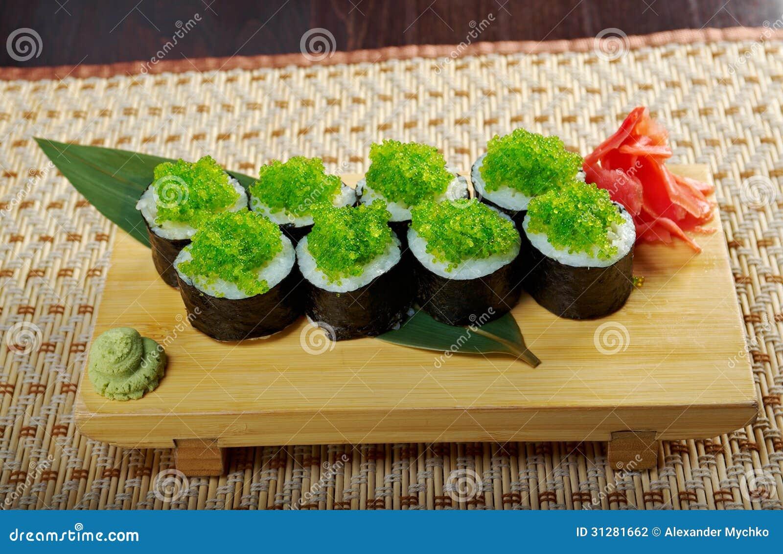 Tobiko Gunkan Sushi With Fish Roe Stock Image - Image: 23982231