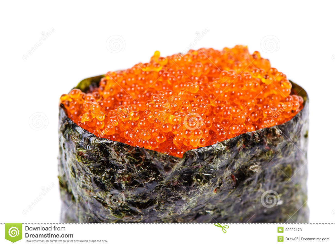 Tobiko gunkan sushi with fish roe stock image image for Fish eggs on sushi