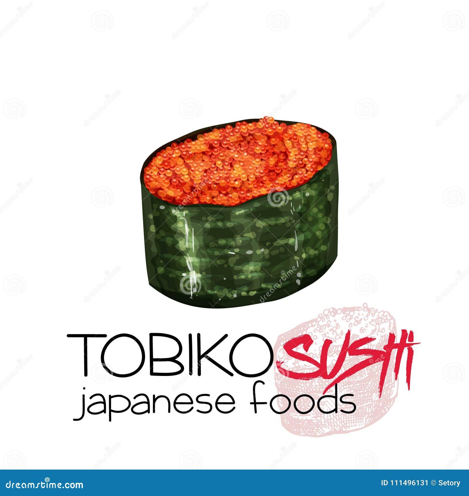Tobiko Sushi Stock Vector Illustration Of National 111496131