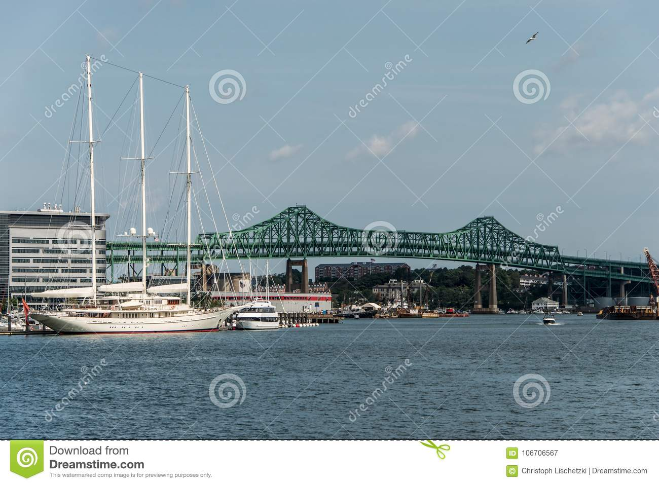 Download Tobin Bridge In Boston MA, USA And The Athena 295 Foot Yacht Docked At The Boston Harbor Stock Image - Image of america, boat: 106706567