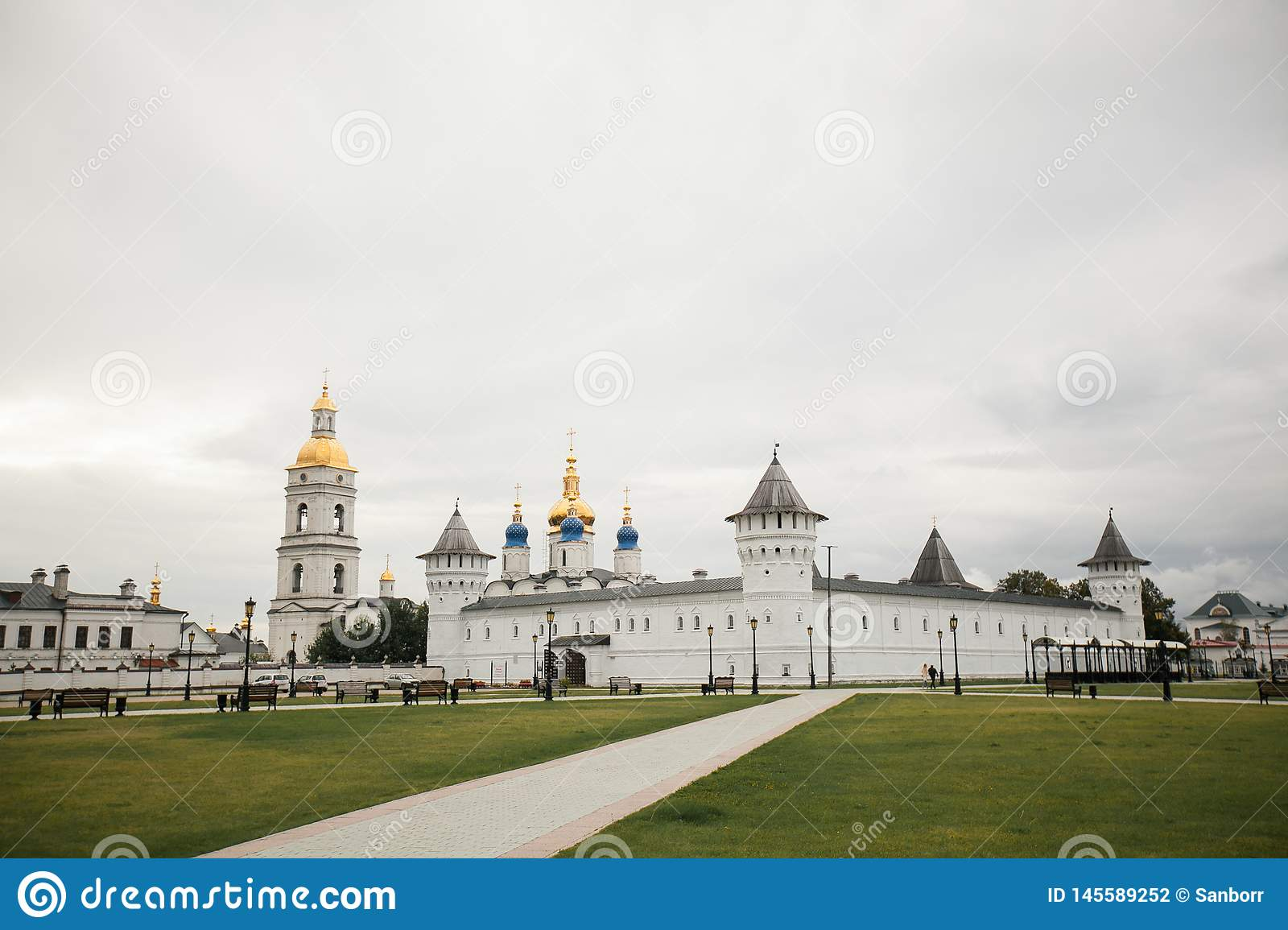 Tobolsk, Russia, 10.09.2016. Christian Church against a blue sky with clouds. The concept of religion and culture