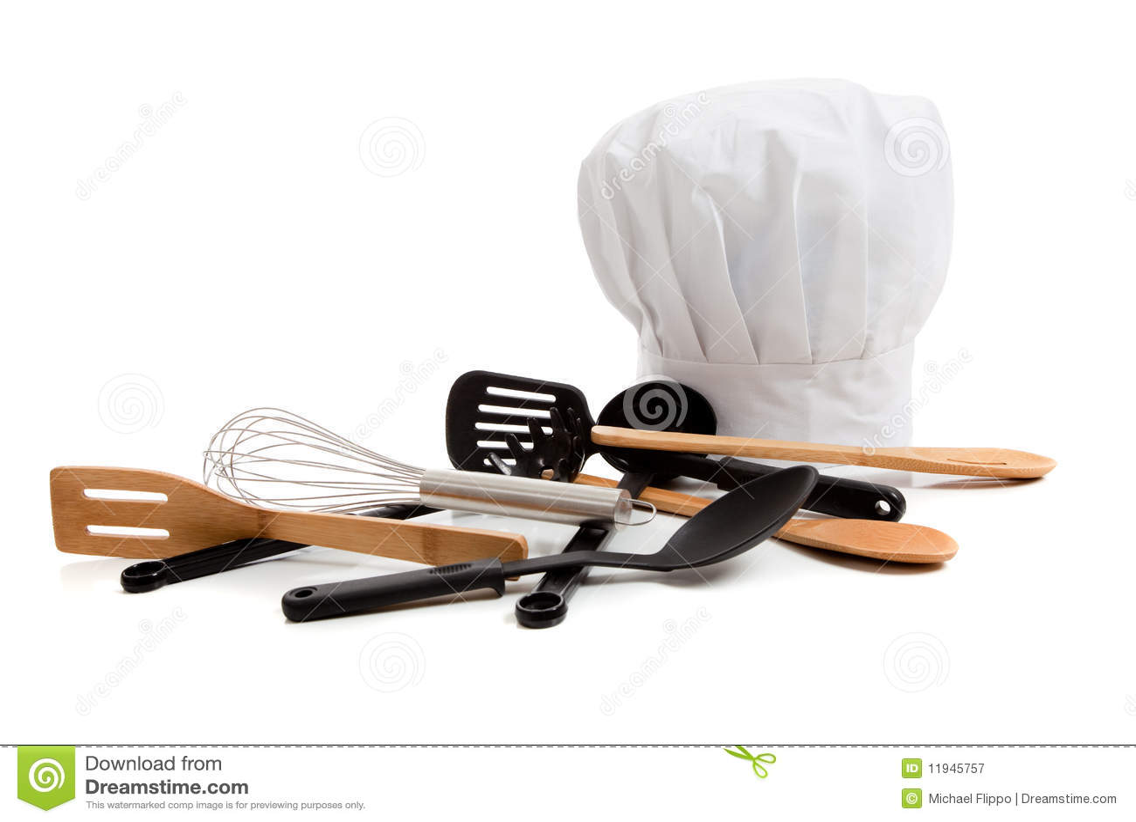Toca del cocinero con los varios utensilios de cocinar for Utensilios para cocineros
