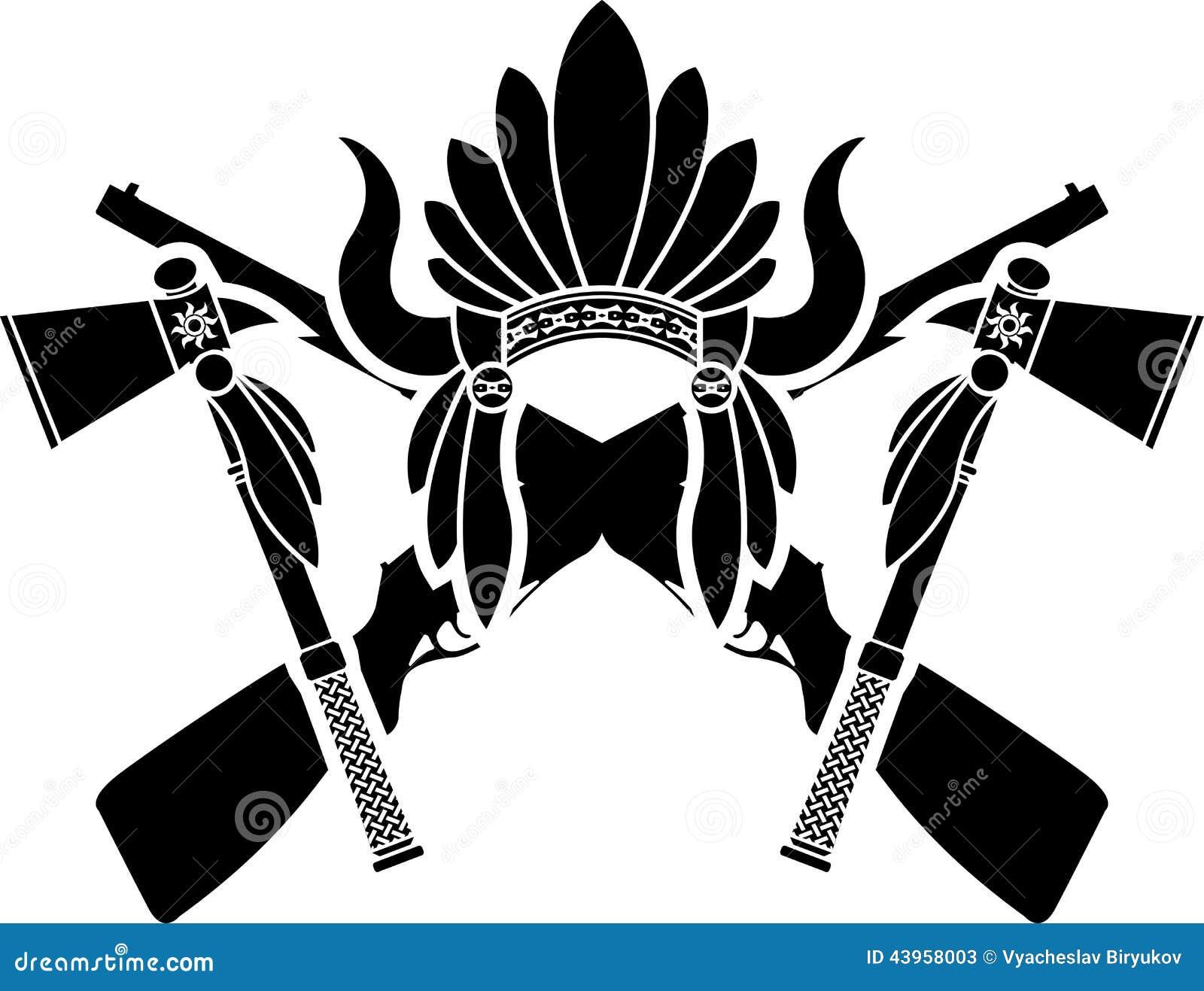 Tocado, Armas Y Hachas De Guerra Indios Americanos Ilustración del ...