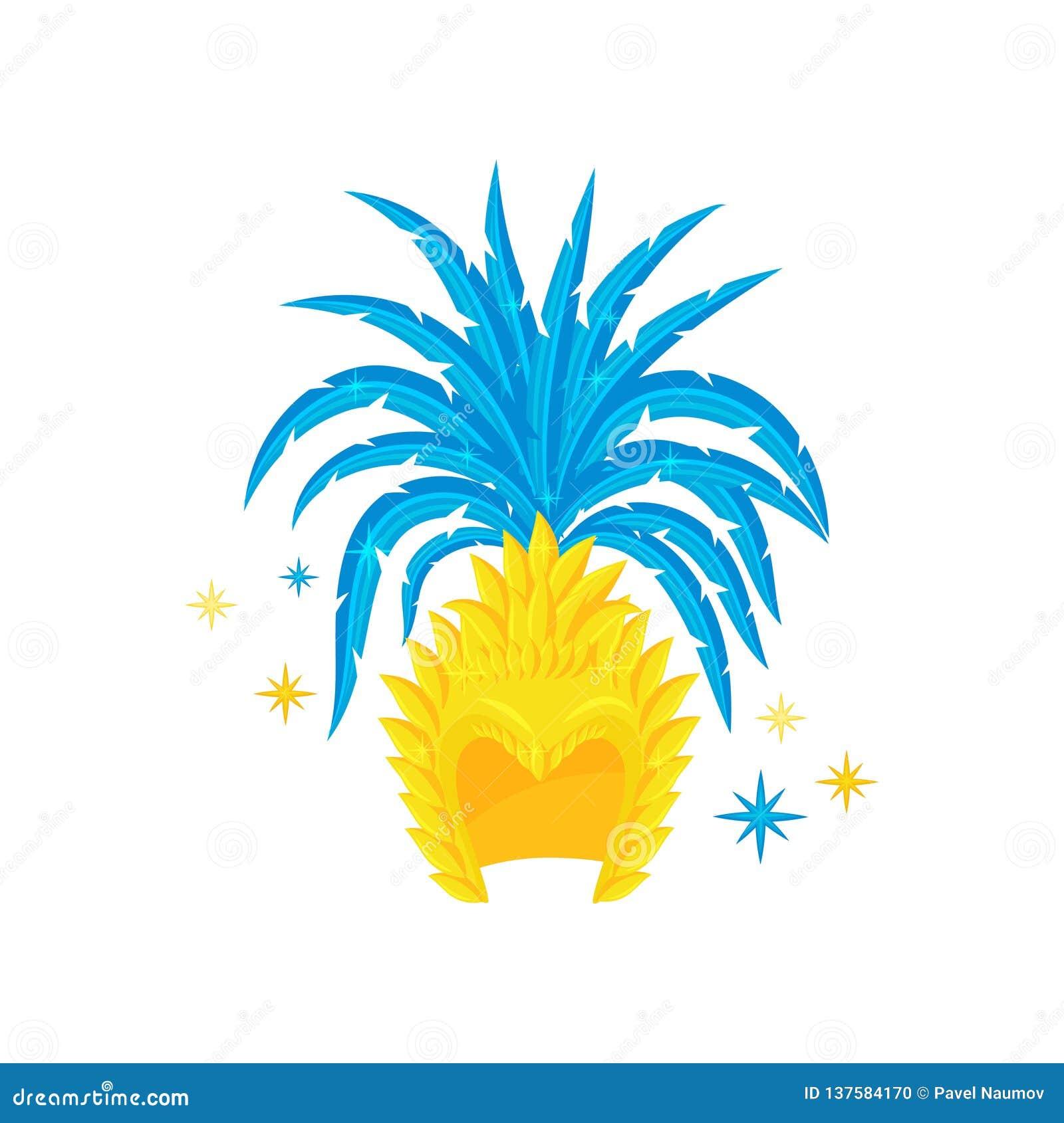 46211f01546b Tocado Brasileño Con Las Plumas Azules Brillantes Elemento Del Traje ...