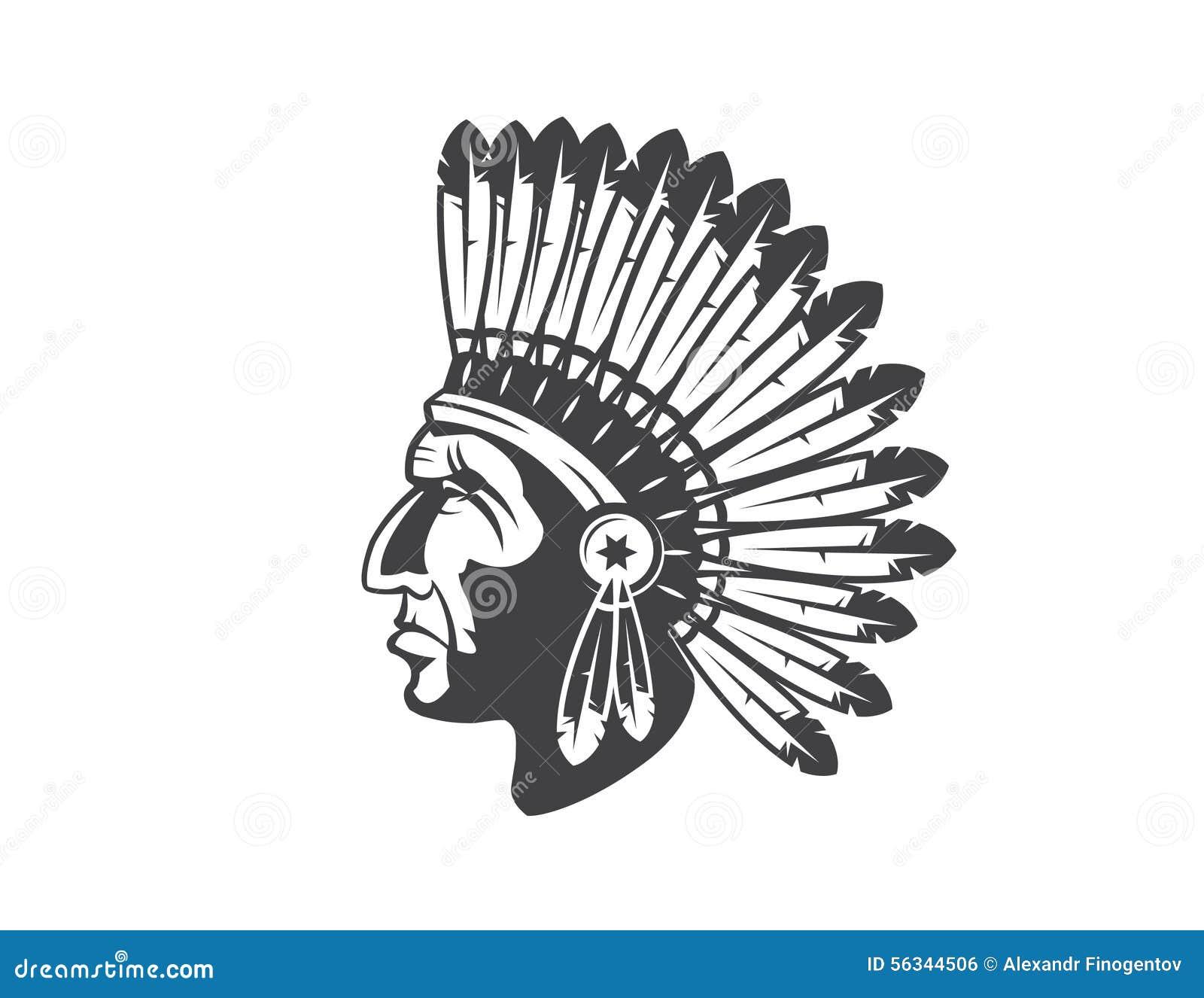Tocado Del Jefe Indio Del Nativo Americano Ilustración del Vector ...