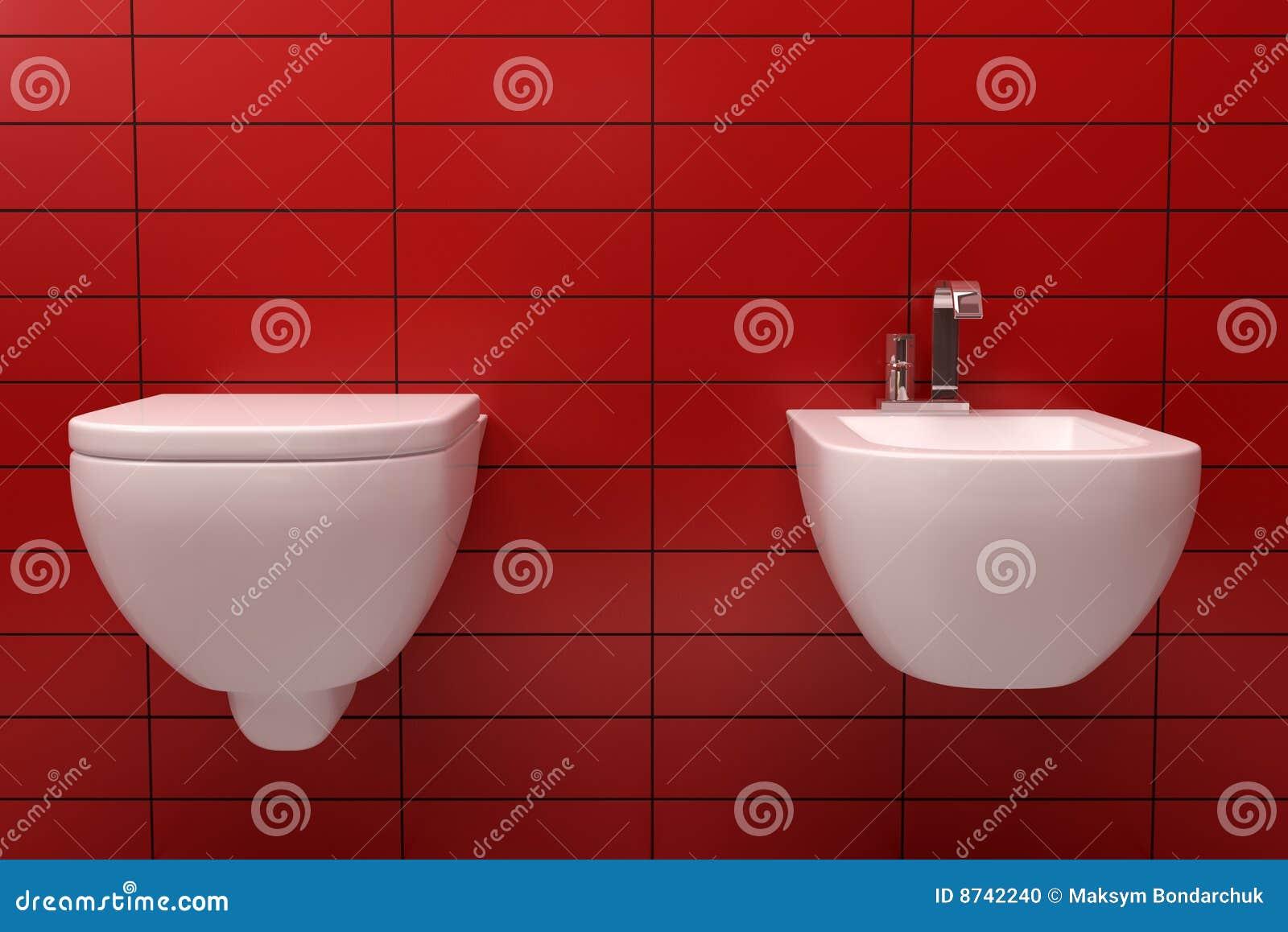 Baños Con Azulejos Rojos:Red Contemporary Toilet
