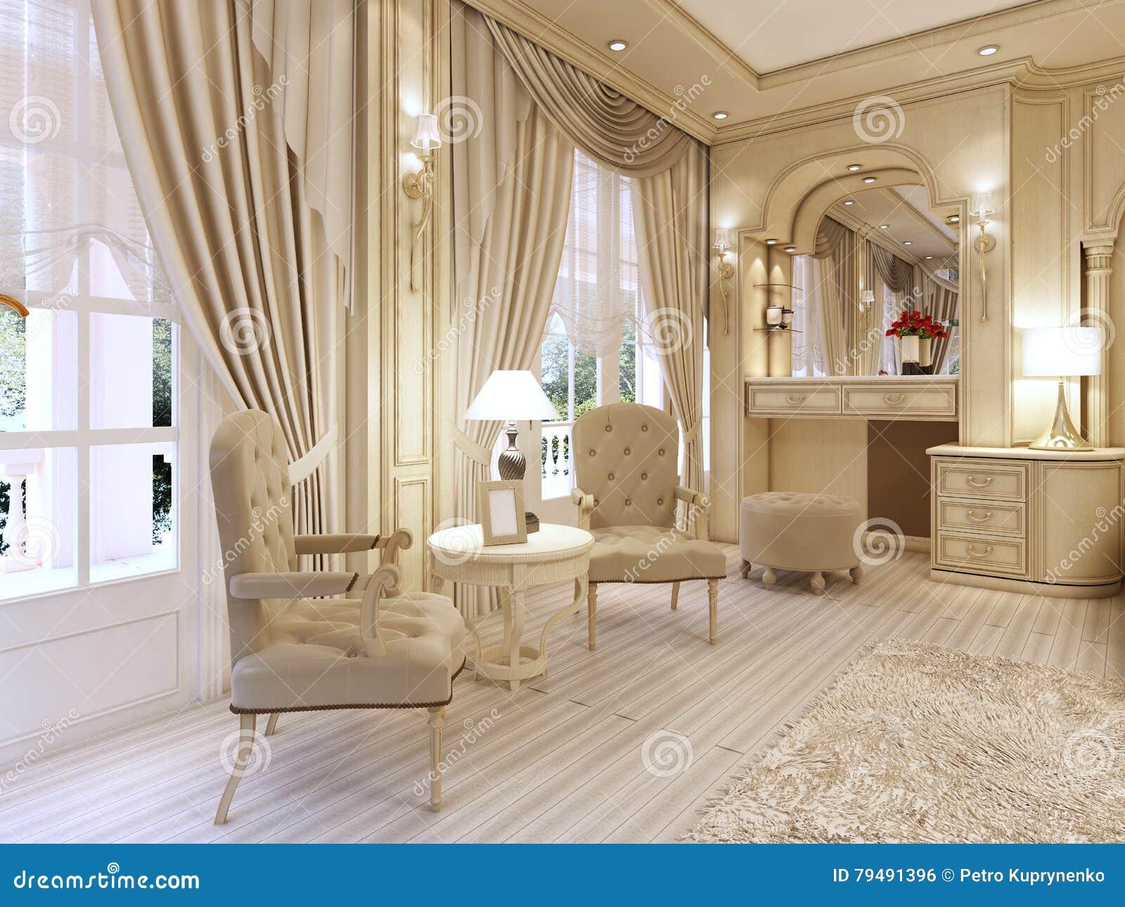 Tocador y dos sillas con una lámpara de mesa en luxur clásico