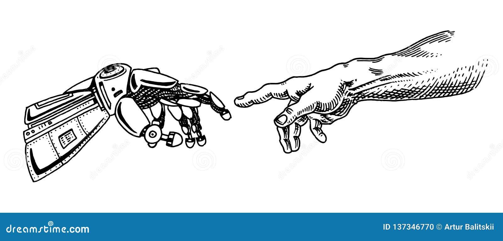 Tocco della mano Android ed umano Insegna di intelligenza artificiale Manifesto bionico del braccio Tecnologia futura Annata inci