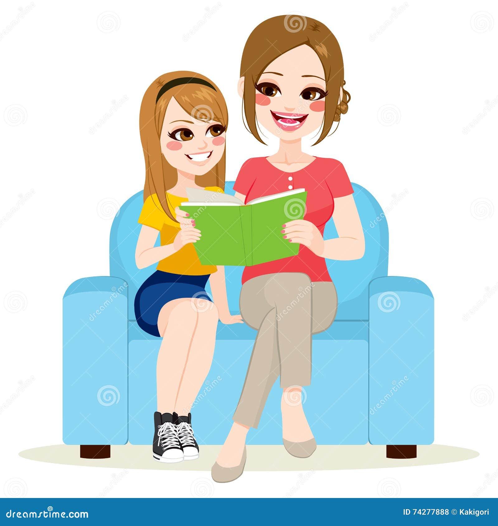 Tochter-und Mutter-sitzendes Sofa