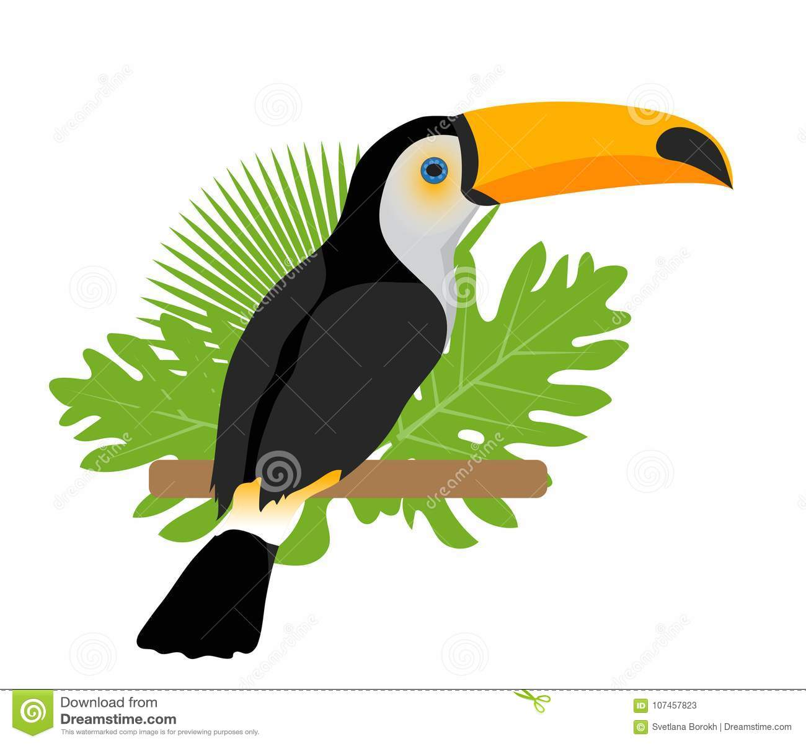 Toco pieprzojada ikona jest mieszkaniem, kreskówka styl Egzotyczny ptasi obsiadanie na gałąź w zwrotnikach pojedynczy białe tło