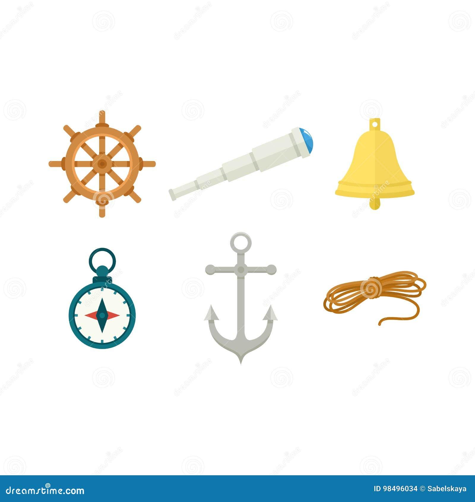 Toczy, statku dzwon, kompas, kotwica, spyglass, arkana