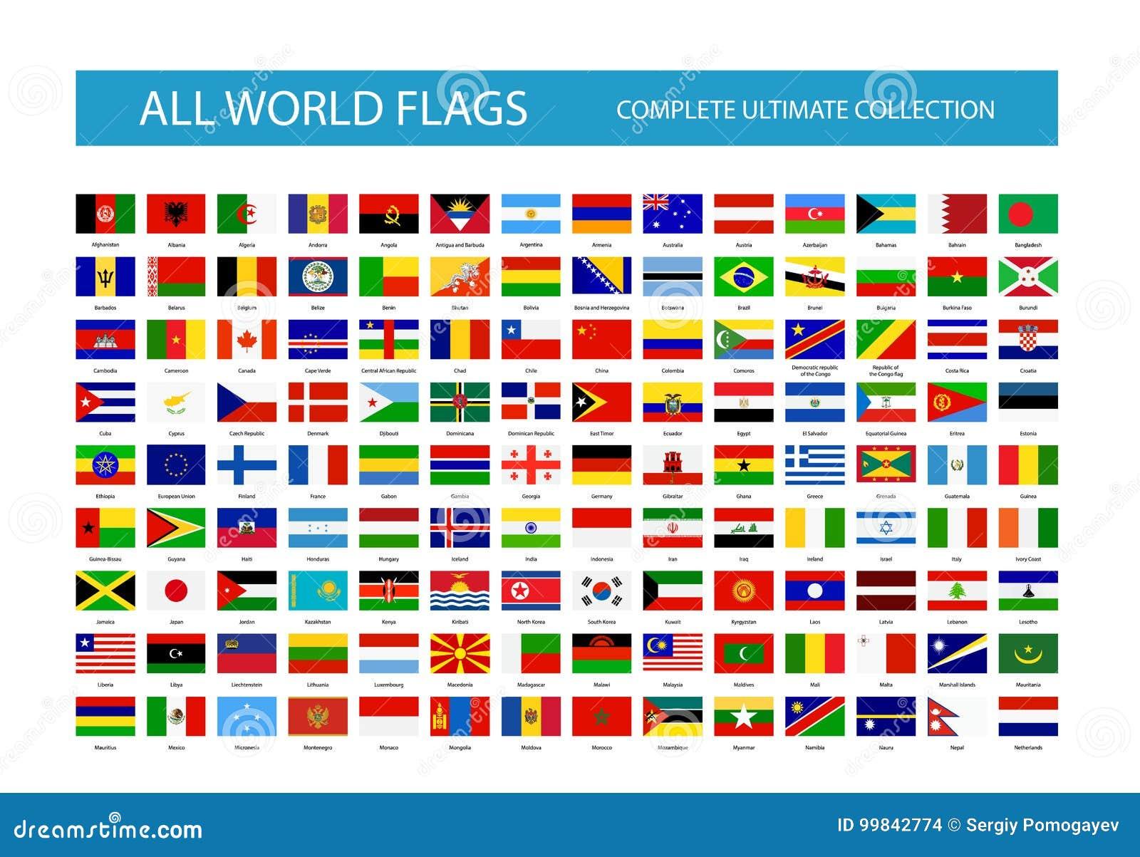 Todas as bandeiras de país do mundo do vetor Parte 1